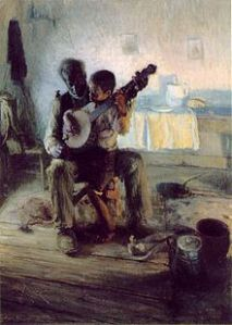 "Henry Ossawa Tanner, The Banjo Lesson, 1893. Oil on canvas, 49"" × 35½"". Hampton University Museum."