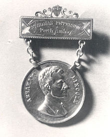 The medallion awarded to Thomas Mundy Peterson by the citizens of Perth Amboy in 1884.