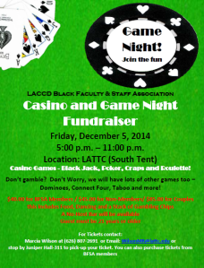 BFSA Casino and Game Night Flyer